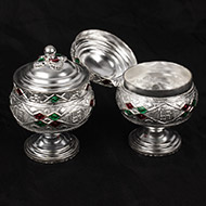 Haldi Kumkum Containers in silver - Set of 2
