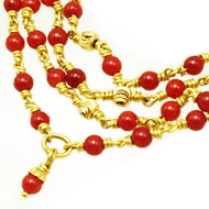 Coral beads necklace in gold - 2mm