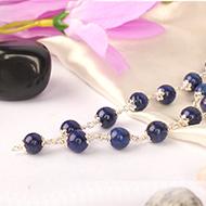 Lapis Lazuli Mala in pure silver flower caps
