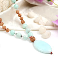 Amazonite and Rudraksha beads Mala