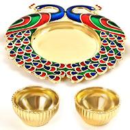 Peacock Designer Puja Thali - IV