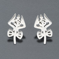 Trishul with damru earrings in pure silver