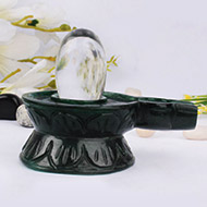Sphatik Lingam with Greenjade yoni base - I
