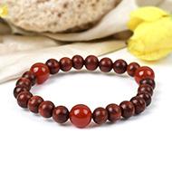 Red Sandalwood and Orange Carnelian Bracelet