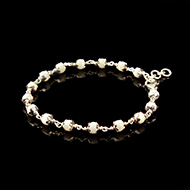 White Coral Bracelet in Pure Silver Flower Caps-5mm