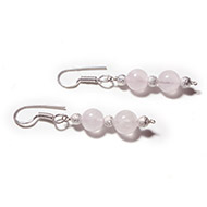 Round Rose Quartz Earrings - Design II