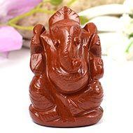 Ganeshji in Red Jasper - 140 gms - I