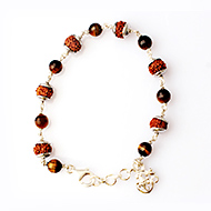 6 Mukhi with Tiger Eye bracelet in silver caps