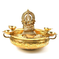 Ganesha Urli bowl with Lamp in Brass