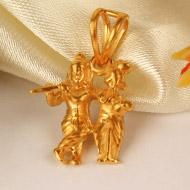 Radha Krishna Locket in pure Gold