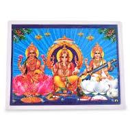 Ganesh Laxmi Saraswati Glittering Photo