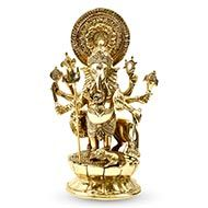 Ganesha with Lion in Brass - I