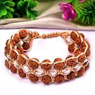Semi Chikna Rudraksha with Sphatik Faceted beads bracelet