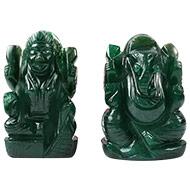 Ganesh Laxmi Pair in Natural Green Jade-IV
