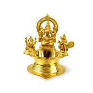 Kamakshi Ganesh and Kartikeya diya in brass