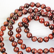 Red Tiger eye round mala - 12 mm