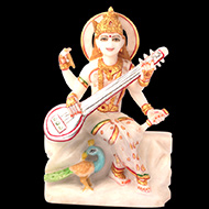 Goddess Saraswati idol in white marble - 12 inches