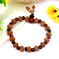 9 mukhi Durga bracelet from Java with Red Sandalwood beads