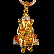 Ganesh Pendant in Gold - 3.71 gms