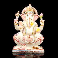 Lord Ganesha in white marble idol