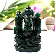 Green Jade  Ganesha - 202 gms - Right Trunk