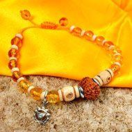 12 Mukhi Rudraksha and Citrine Bracelet - I (Solar)