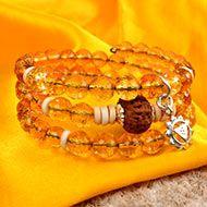 12 Mukhi Rudraksha and Citrine Bracelet - III (Solar)