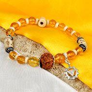 12 Mukhi Rudraksha and Citrine Bracelet (Solar)