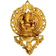 Vinayak Ganesh hanging with lamp in brass