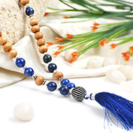 Lapis Lazuli and White Sandal beads Mala