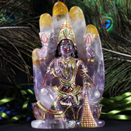 Maa Laxmi on hand figurine in Amethyst