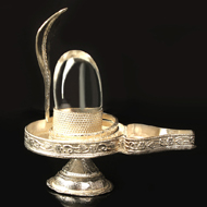 Pure Silver Yoni base with Sphatik Lingam - I