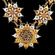 Sunflower designer mala in silver