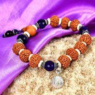 5 Mukhi Rudraksha and Amethyst Bracelet (Crown)