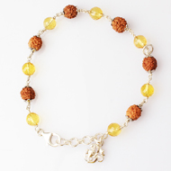 4 mukhi with yellow citrine bracelet in silver caps