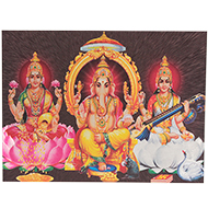 Ganesh Lakshmi Saraswati Photo - Medium - Design I