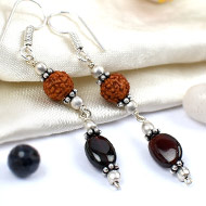 Rudraksha and Gomed Earrings