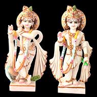 Radha Krishna in white marble idol - 15 inches