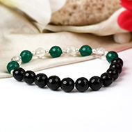 Black Agate and Green Onyx with Sphatik beads bracelet