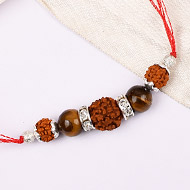 4 Mukhi Rakhi Tiger eye Beads with German silver accessories