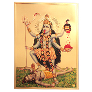 Maha Kaali Photo in Golden Sheet - Large