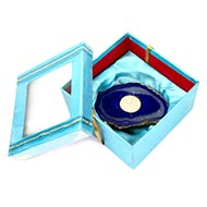 Blue Agate stone Diya with Wax Candle for Diwali