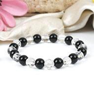 Sphatik and Black Agate Beads Bracelet