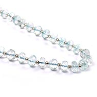 Aquamarine button shape mala with silver balls - Faceted beads