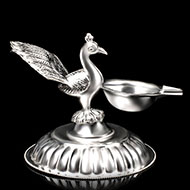 Peacock Oil Lamp in Pure Silver - II
