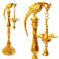 Five wicked Parrot Oil lamp in brass