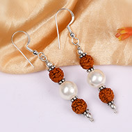 Rudraksha and Pearl earring