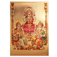 Ganesh Lakshmi Saraswati Photo in Golden Sheet - Large