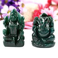 Ganesh Laxmi Pair in Natural Green Jade-I