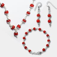 Coral Mala-Bracelet-Earring Set